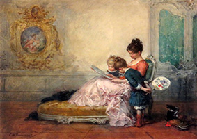 Edouard Charles de Beaumont Reading to the Children